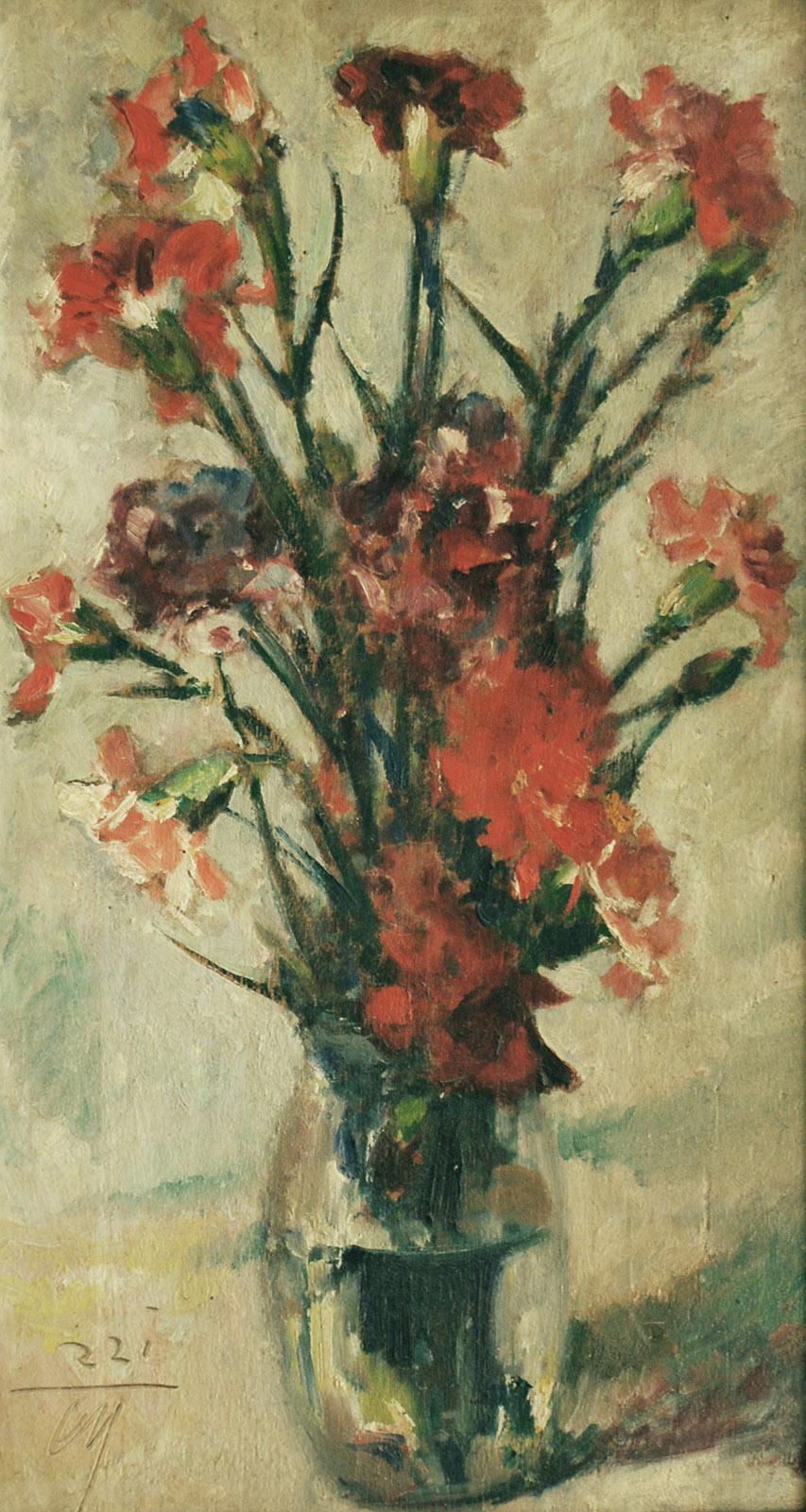 Vaso di garofani michelozzi corrado 1883 1965 fiori for Vasi di fiori dipinti